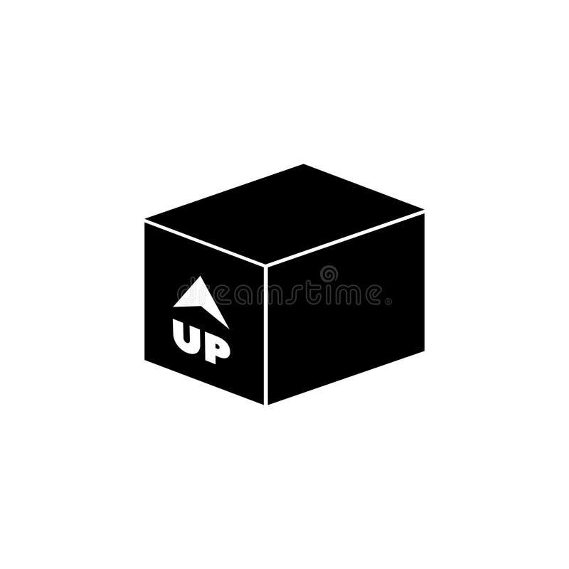 Caja con la flecha para arriba interna, icono plano del vector del cargamento entrante stock de ilustración