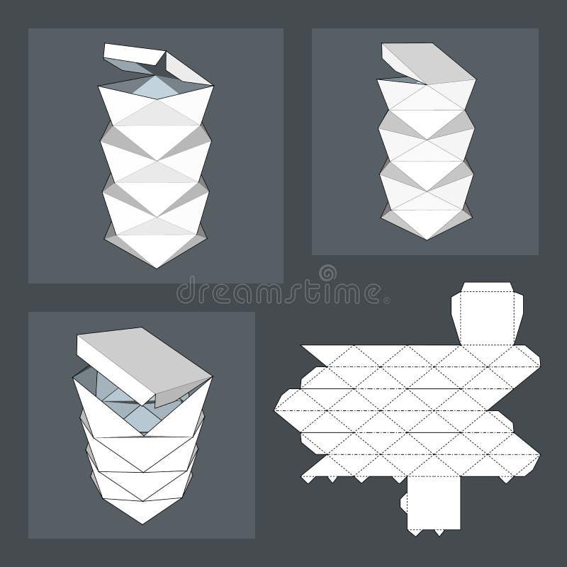 Caja con la plantilla cortada con tintas Caja de embalaje para la comida, el regalo u otros productos ilustración del vector