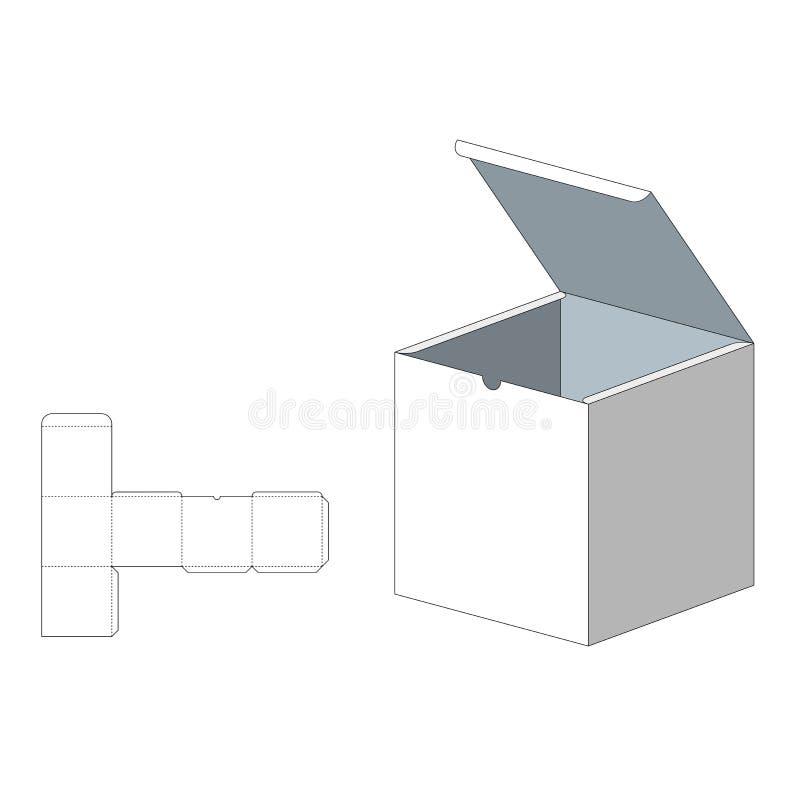 Caja con la plantilla cortada con tintas Caja de embalaje para la comida, el regalo u otros productos En el fondo blanco Aliste p stock de ilustración