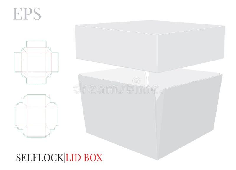 Caja con la plantilla de la tapa El vector con cortado con tintas/el laser cort? capas Caja cuadrada blanca, clara, en blanco, ai stock de ilustración