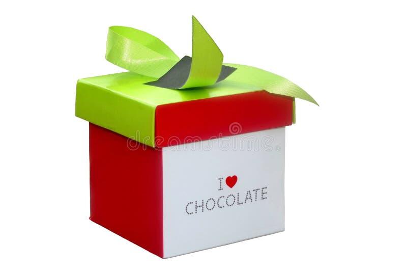 Caja con los chocolates para el día de la tarjeta del día de San Valentín y de madres  fotografía de archivo