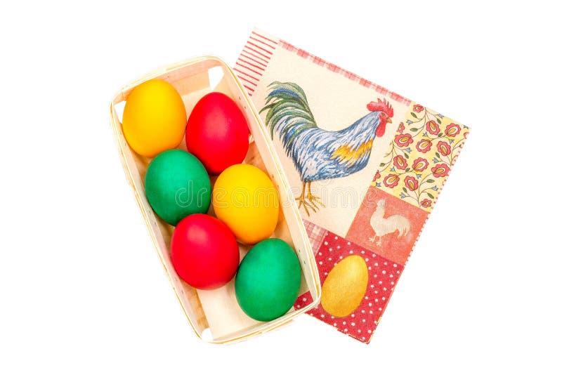 Caja con los huevos de Pascua imagen de archivo