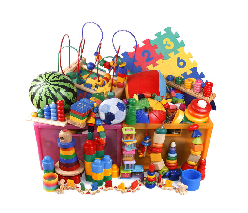 Caja con muchos juguetes foto de archivo