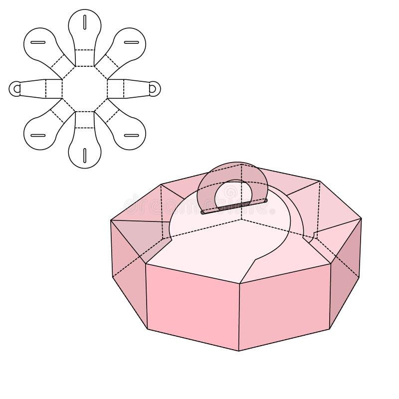 Caja cortada con tintas stock de ilustración