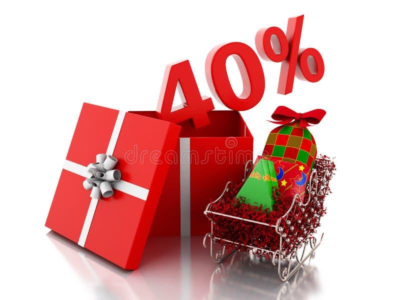 caja 3d con el 40 por ciento de texto Concepto de la venta de la Navidad stock de ilustración