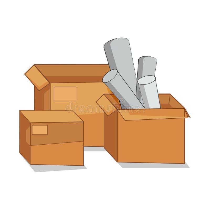 Caja de cartón abierta stock de ilustración