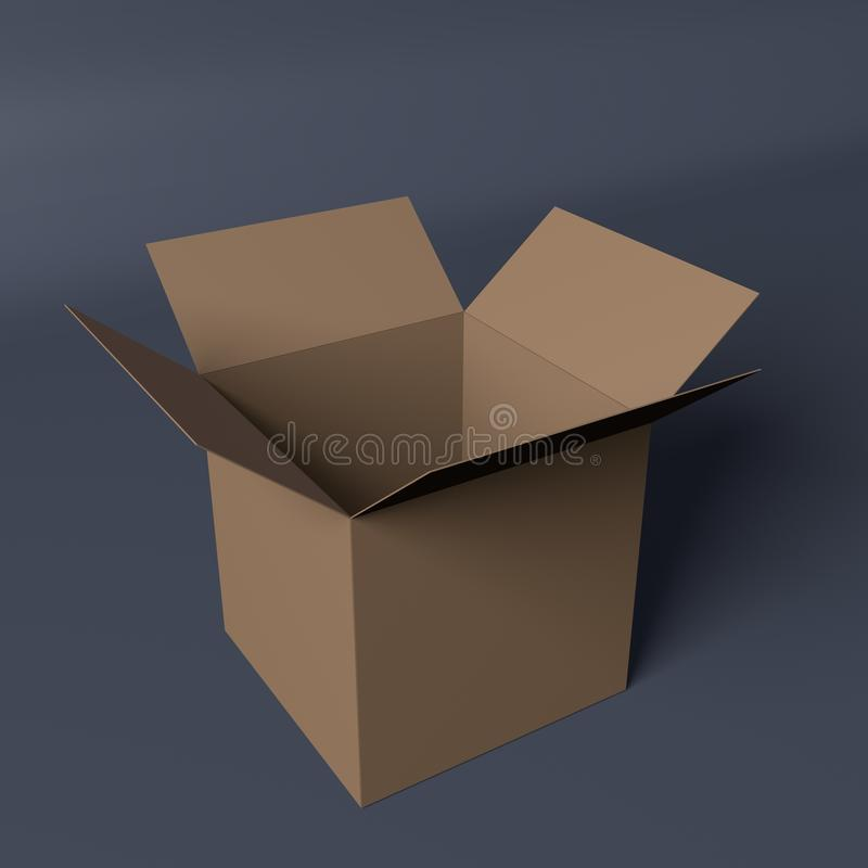 Caja de cartón abierta aislada en fondo gris ilustración del vector
