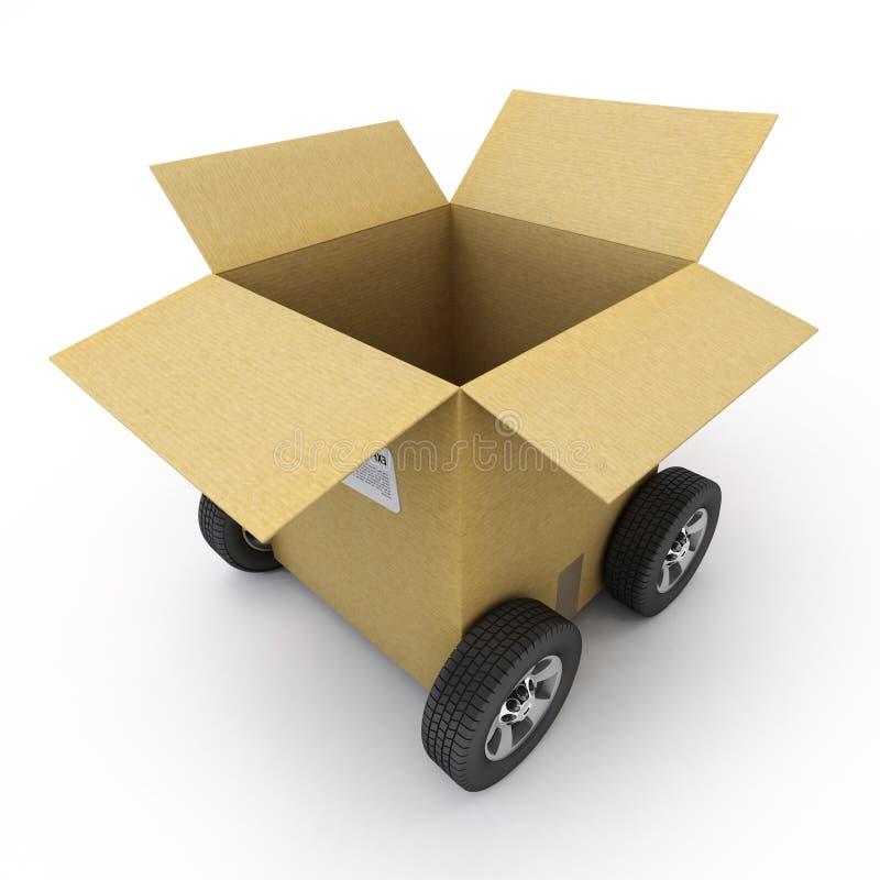 Caja de cartón abierta en las ruedas ilustración del vector