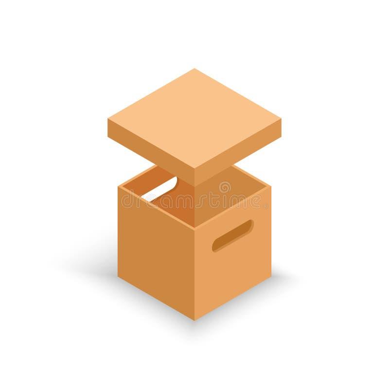 Caja de cartón abierta isométrica aislada en blanco ilustración del vector