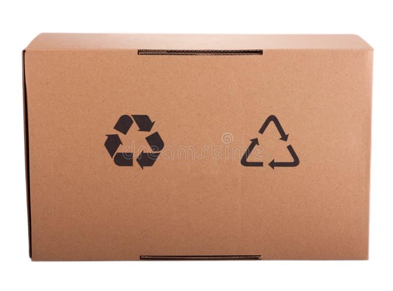 Caja de cartón acanalado con el reciclaje del icono imagen de archivo libre de regalías