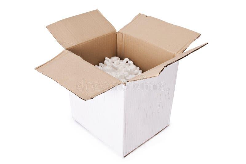Caja de cartón aislada fotografía de archivo