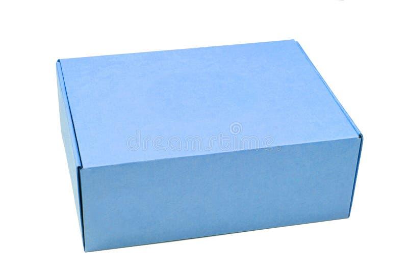 Caja de cartón azul fotos de archivo