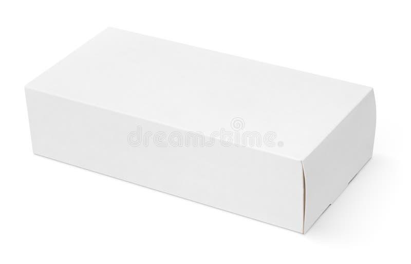 Caja de cartón blanca en blanco foto de archivo