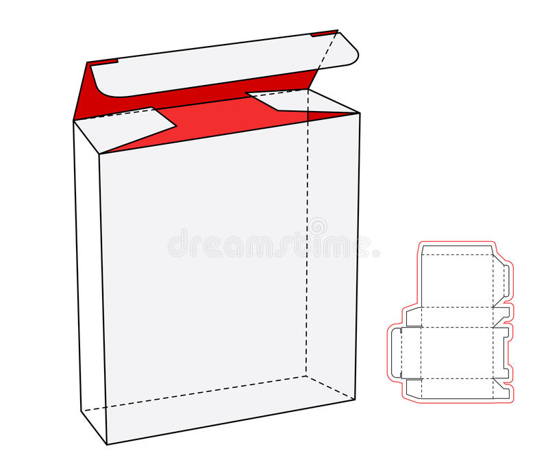 Caja de cartón blanca realista fresca del paquete abierta stock de ilustración