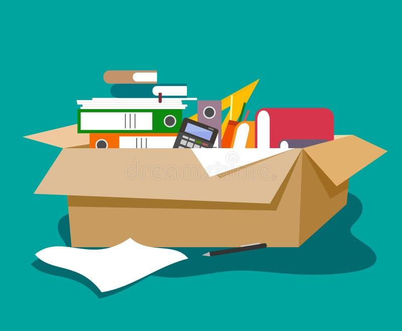 Caja de cartón con efectos de escritorio de la oficina en el estilo del plano Carpetas, papeles, libros, calculadora, plumas stock de ilustración