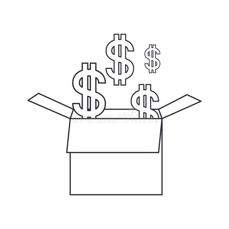 Caja de cartón con el icono aislado símbolo del dólar libre illustration