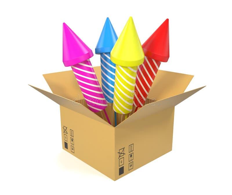 Caja de cartón con el interior festivo de los cohetes aislado fotos de archivo libres de regalías