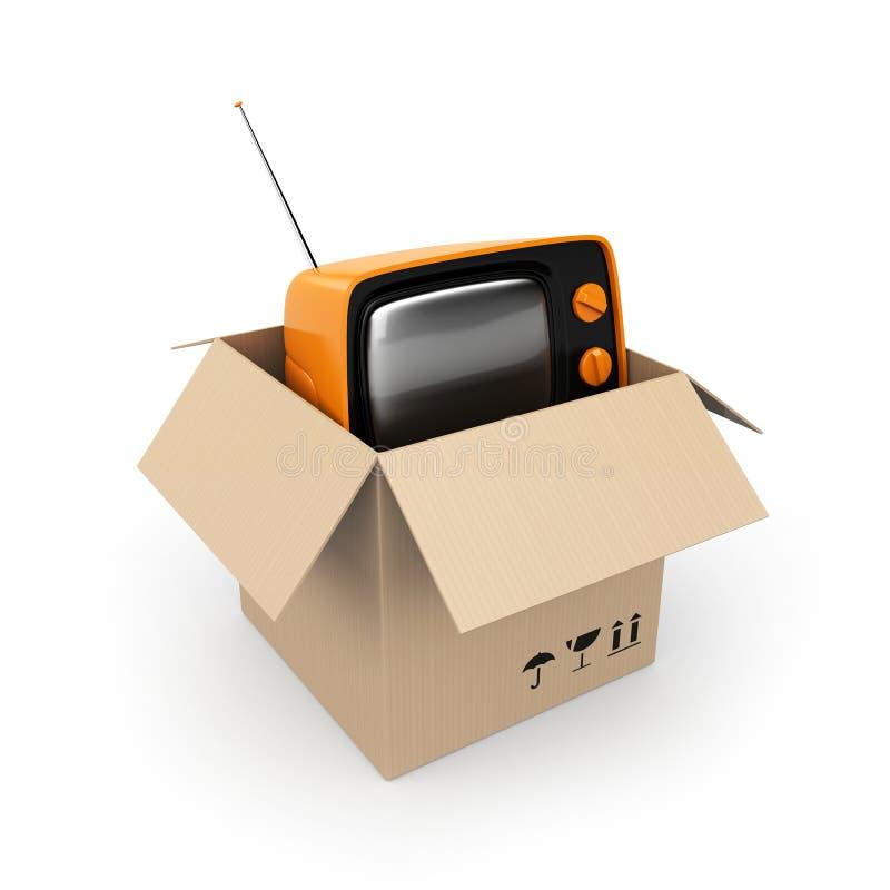 Caja de cartón con la TV ilustración del vector