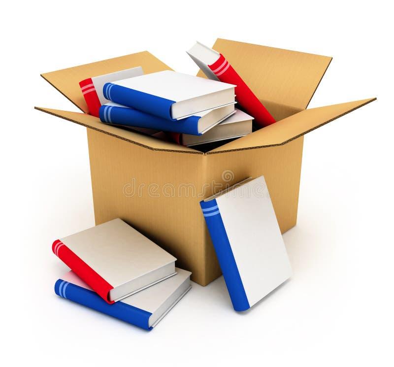 Caja de cartón con los libros stock de ilustración
