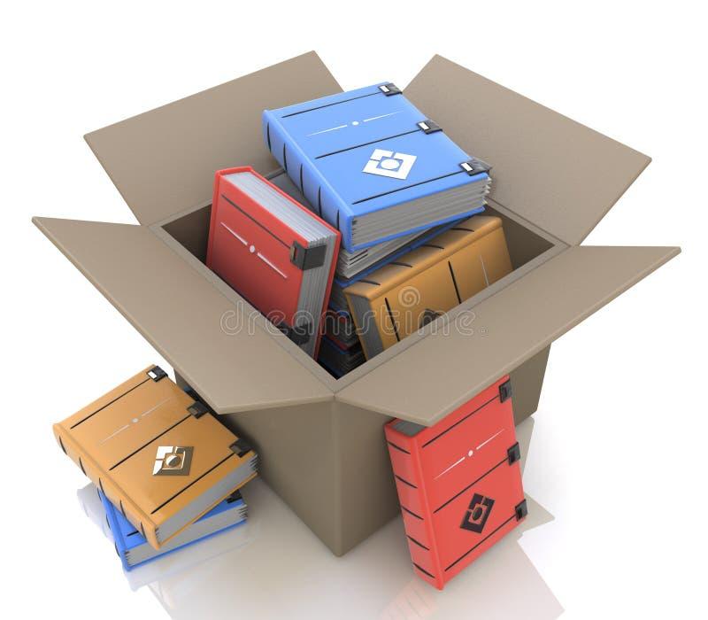 Caja de cartón con los libros ilustración del vector