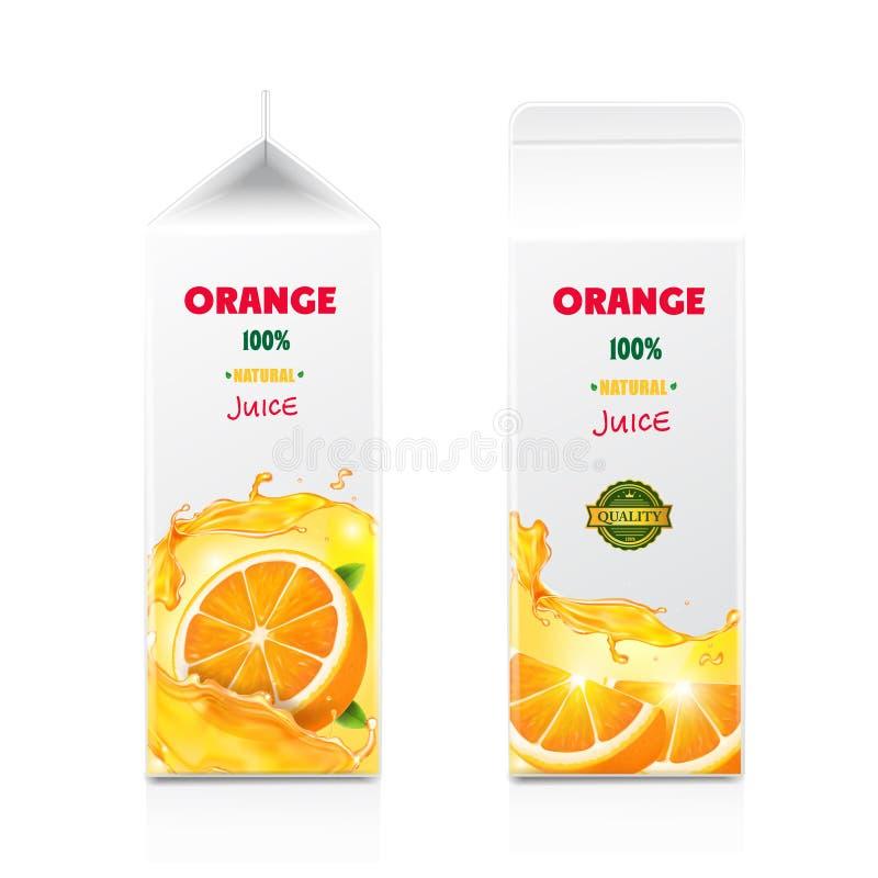 Caja de cartón del cartón del diseño de empaquetado del zumo de naranja stock de ilustración