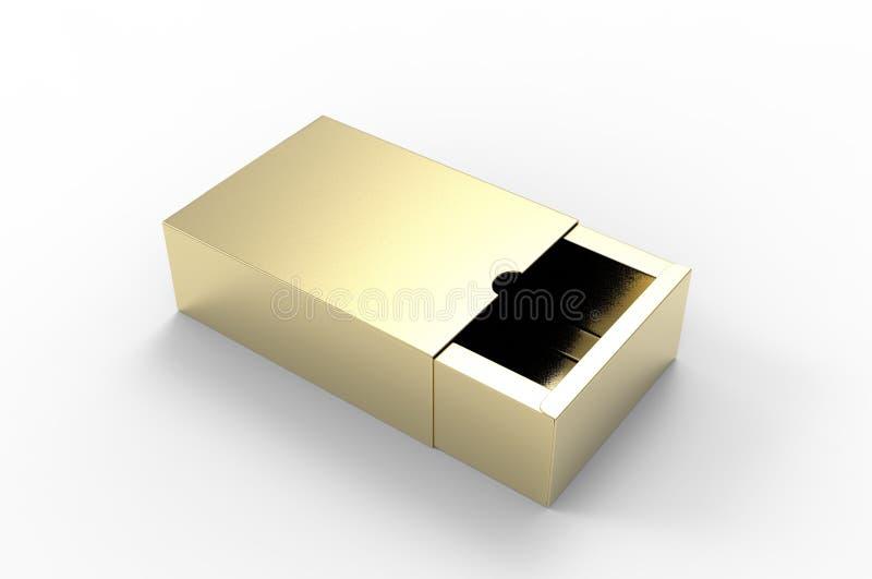 Caja de cartón dura de desplazamiento en blanco del cajón para la presentación de marcado en caliente 3d rendir el ejemplo stock de ilustración