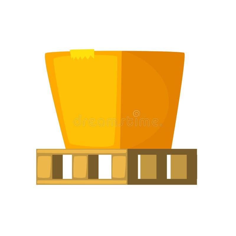 Caja de cartón en una plataforma de madera ejemplo del vector del concepto Icono de la historieta stock de ilustración
