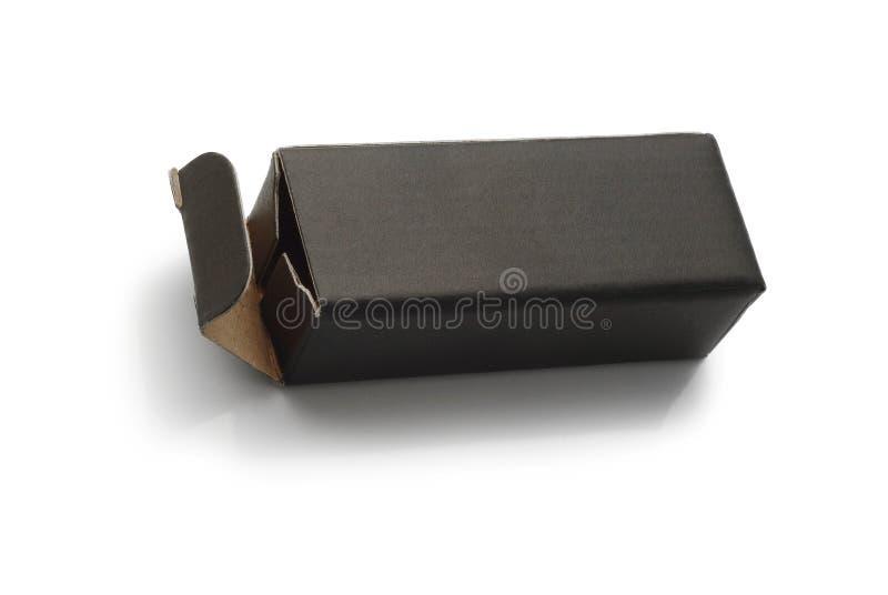 Caja de cartón negra imagenes de archivo