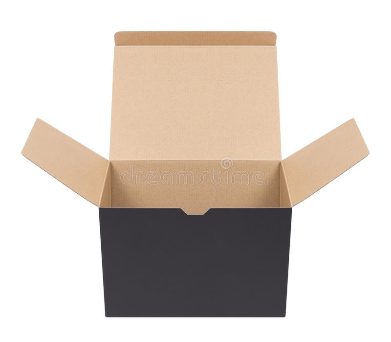 Caja de cartón negra fotos de archivo