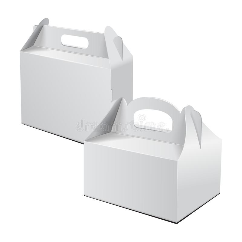 Caja de cartón Para la torta, los alimentos de preparación rápida, el regalo, el etc Carry Packaging Maqueta del vector Sistema d libre illustration