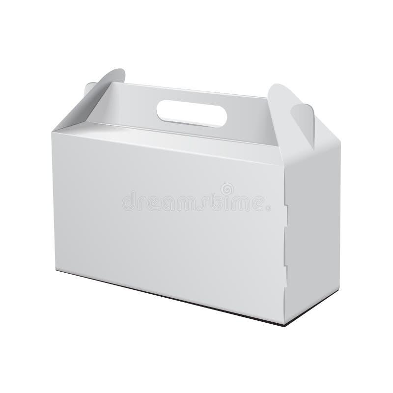 Caja de cartón Para los alimentos de preparación rápida, la torta, el regalo, el etc Carry Packaging Maqueta del vector Plantilla stock de ilustración