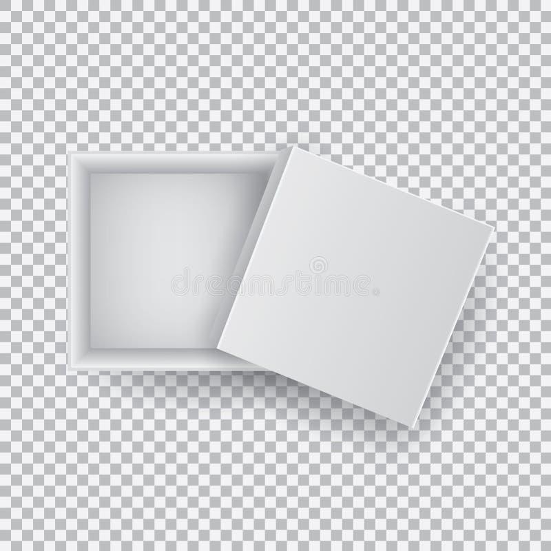 Caja de cartón vacía abierta de los cuadrados del blanco aislada en la opinión superior del fondo transparente Plantilla de la ma stock de ilustración