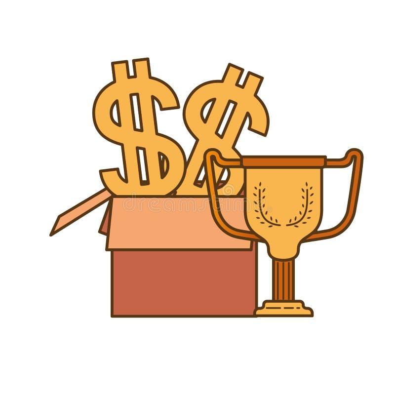 Caja de cart?n con el s?mbolo del d?lar y del trofeo ilustración del vector