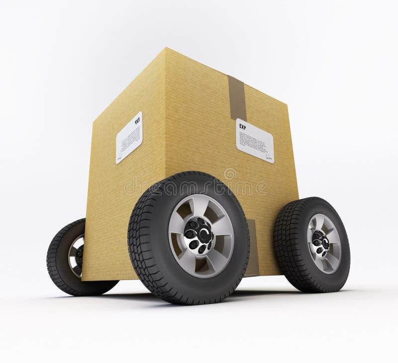 Caja de cart?n en las ruedas stock de ilustración
