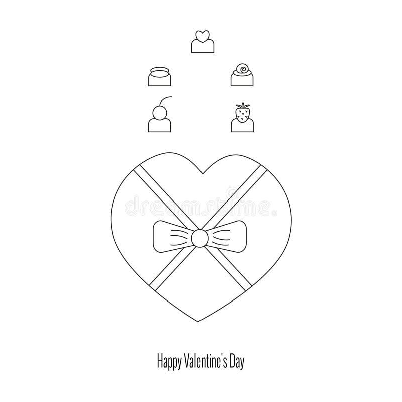 Caja de chocolates como regalo para el día de tarjeta del día de San Valentín, sistema de chocolates clasificados ilustración del vector
