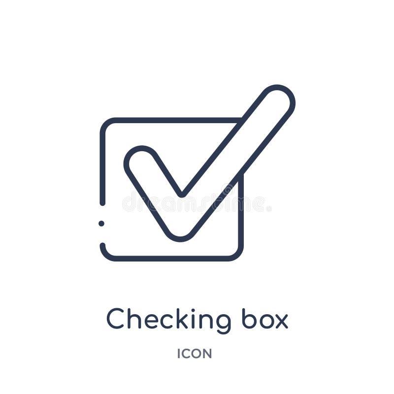caja de comprobación con un icono de la marca de cotejo de la colección del esquema de la interfaz de usuario Línea fina caja de  libre illustration