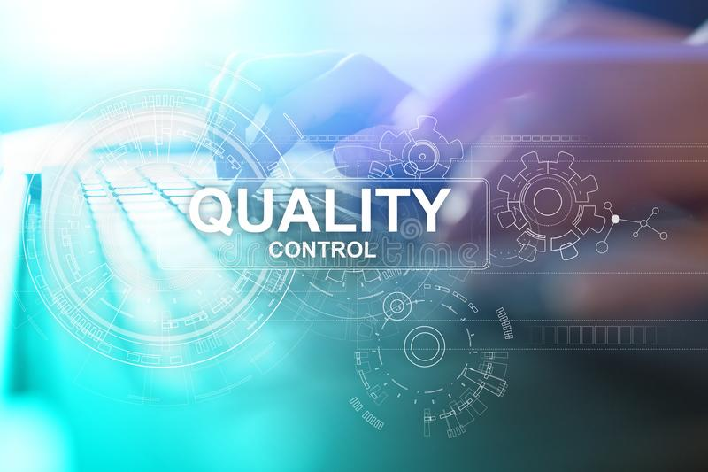 Caja de control del control de calidad Garantía de la garantía Estándares, ISO Concepto del negocio y de la tecnología imagenes de archivo