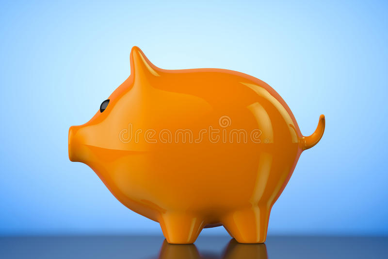 Caja de dinero anaranjada del estilo de la hucha representación 3d stock de ilustración