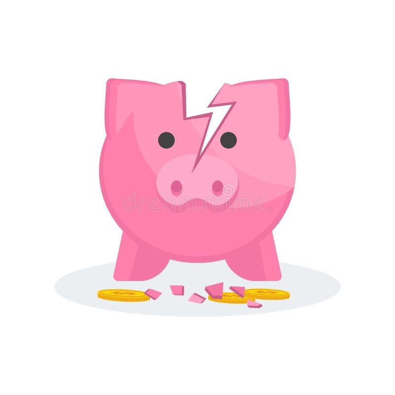 Caja de dinero quebrada del cerdo Pago de la deuda, de costes y de la quiebra libre illustration