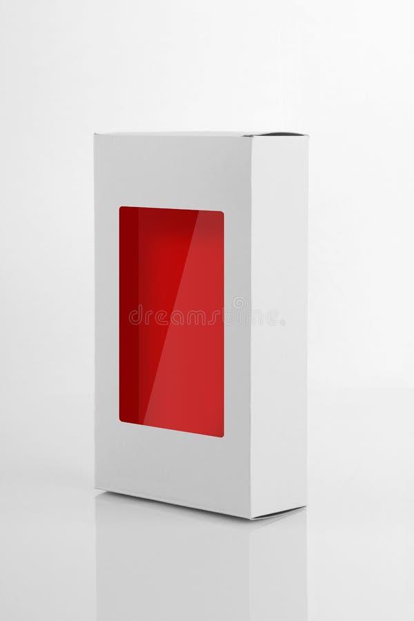 Caja de empaquetado del producto del tablero blanco con una ventana imágenes de archivo libres de regalías