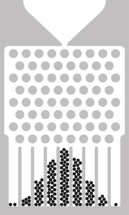 Caja de Galton, máquina de la haba, disposición al tresbolillo, blanco y negro libre illustration