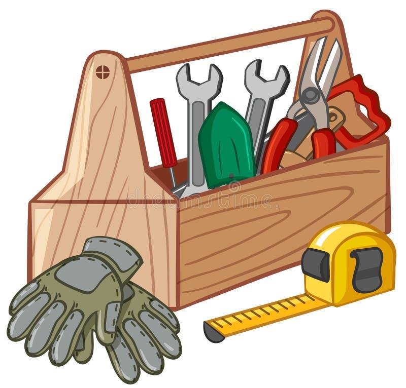 Caja de herramientas con muchas herramientas libre illustration