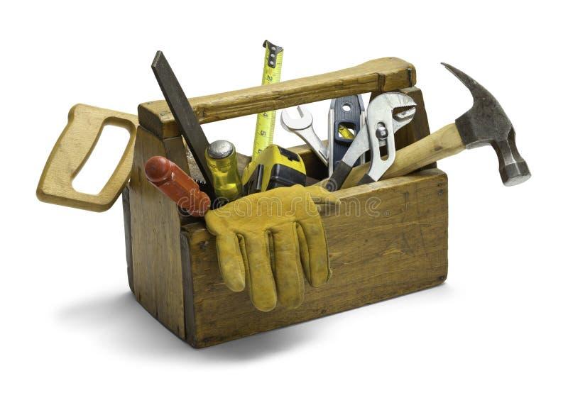 Caja de herramientas de madera foto de archivo