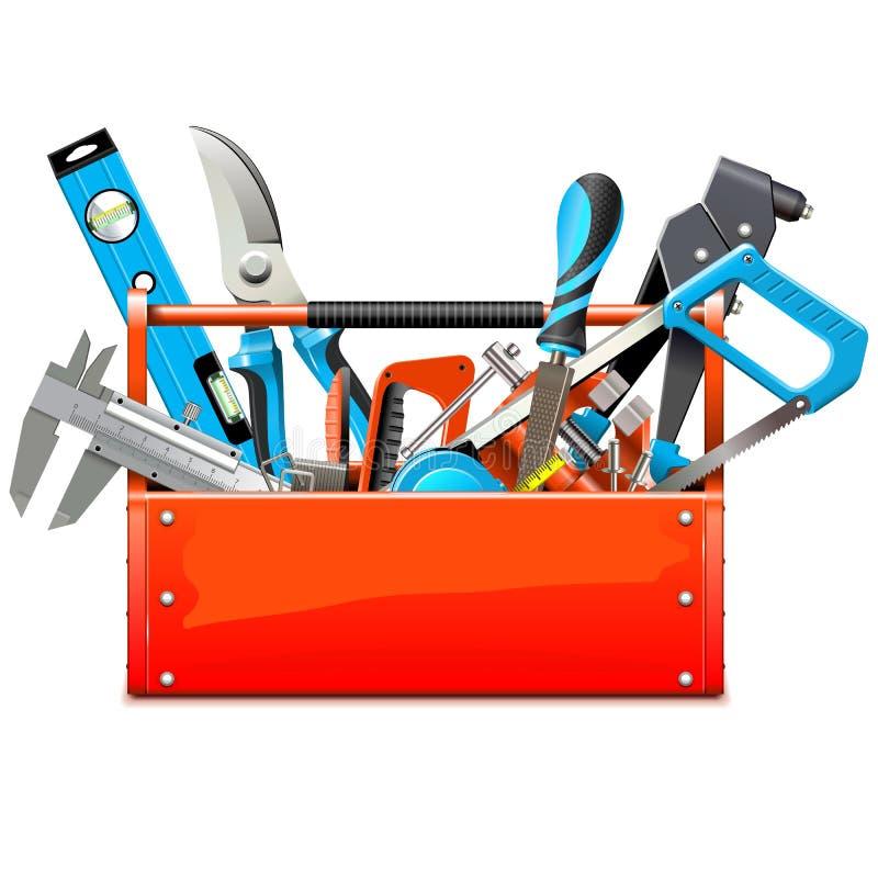 Caja de herramientas del vector con las herramientas de la mano ilustración del vector