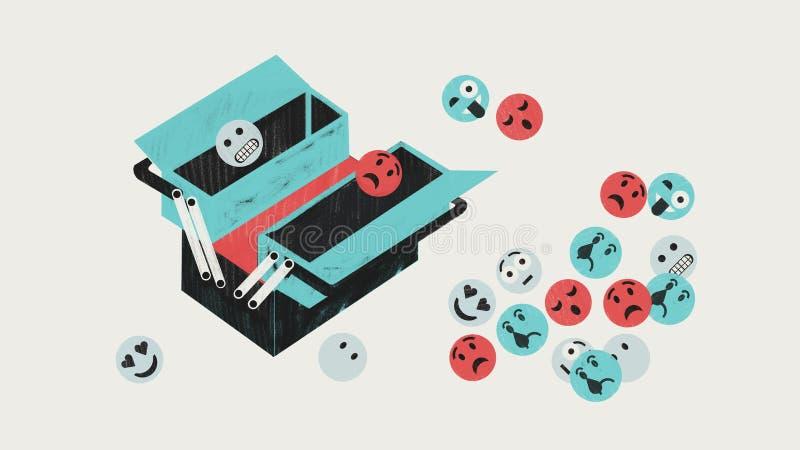 Caja de herramientas emocional con los emoticons que representan la diversidad de emociones Ejemplo colorido conceptual stock de ilustración