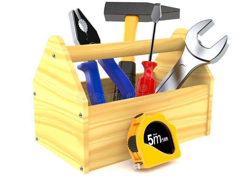 Caja de herramientas de madera stock de ilustración