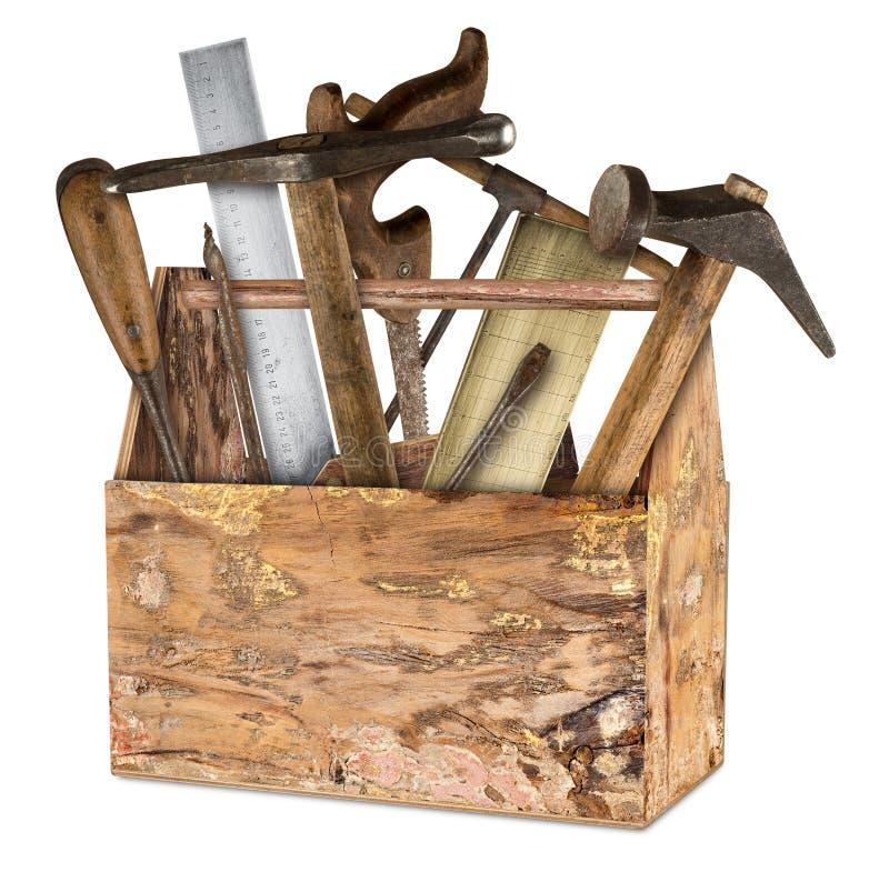 Caja de herramientas retra rústica vieja de madera imagen de archivo
