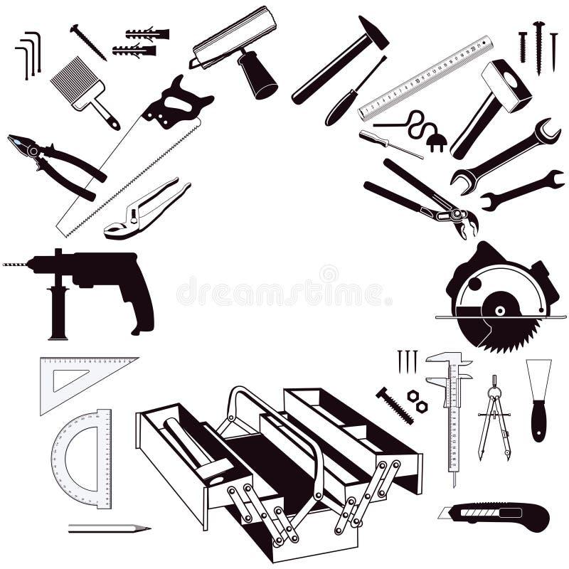 Caja de herramientas y juego de herramientas ilustración del vector