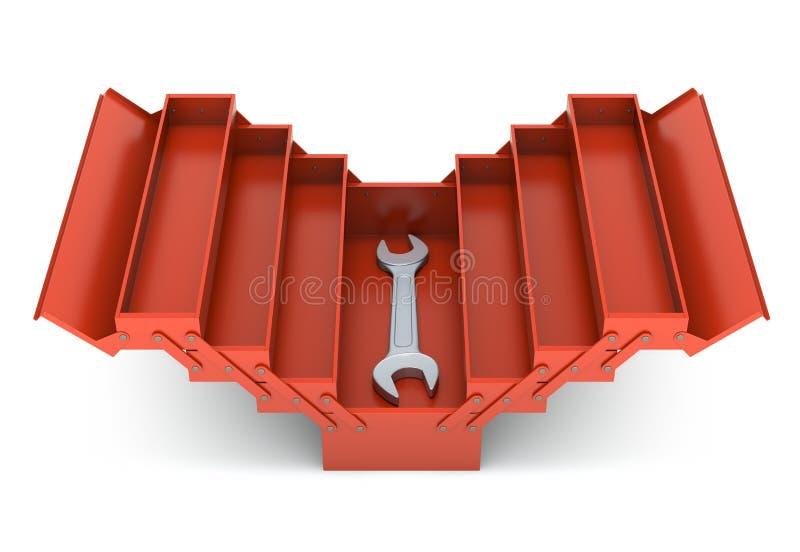 Caja de herramientas y llave inglesa rojas stock de ilustración