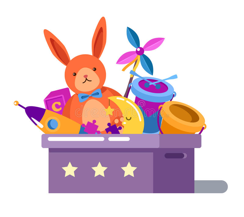 Caja de juguetes o pecho con la muñeca y el cohete del conejo ilustración del vector